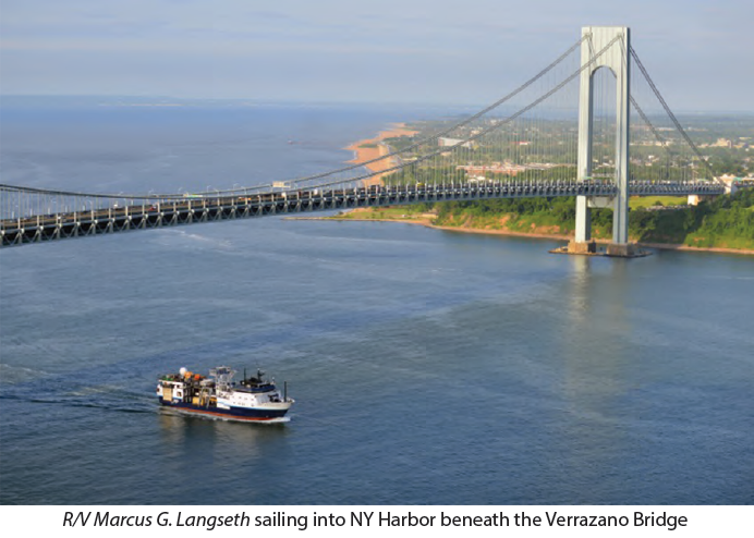 R/V Marcus G. Langseth sailing into NY Harbor beneath the Verrazano Bridge