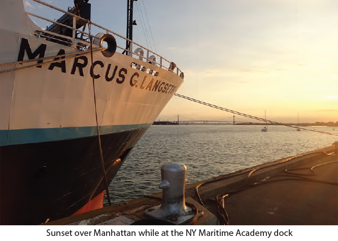 Sunset over Manhattan while at the NY Maritime Academy dock