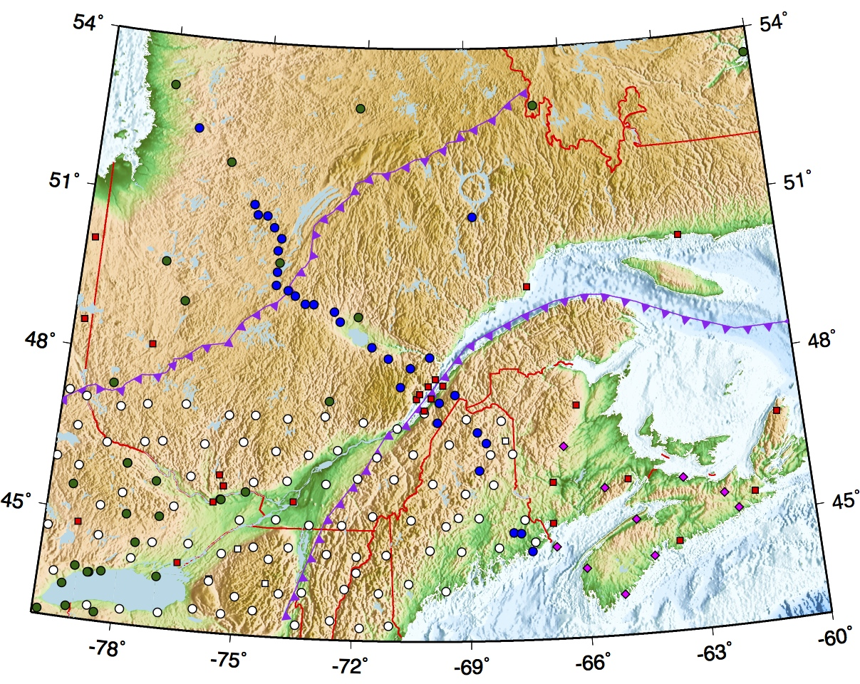 map of  seismic observatories in Eastern North America